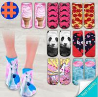 Mujer Socks Fashion 3D Digital Printed Unisex Cute Low Cut Ankle Socks Calcetines Women socks