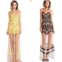 Lace Women Summer Dress 2014 Ladies Mini Casual Dress Strapless Print Patchwork Party Dresses
