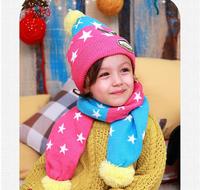 MZ093 2014 new autumn winter Tutuya 5 colors pentagram knitting wool children Hat scarf set retail
