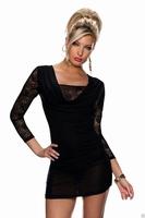 ML18210 New Vestidos De Festa Floral Lace Dress Three Quarter Sleeves Mesh Panel Dress Black  Sexy Winter Dress