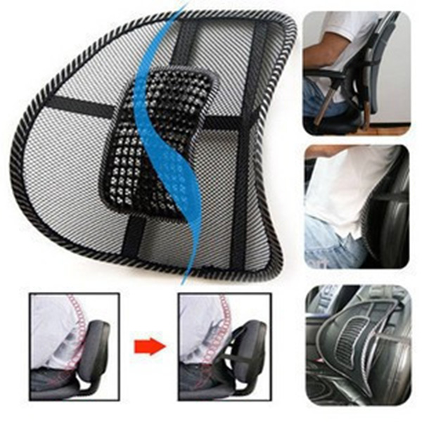 41 x 41cm Black Mesh Lumbar Back Brace Support Cushion Cool for Office Home Car Seat Chair(China (Mainland))
