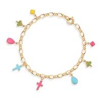 New 18K Yellow Gold Plated Multi Shape Color Cross Link Chain Cuff Tennis Bracelet  Bangle Fashion Children Kid Jewelry