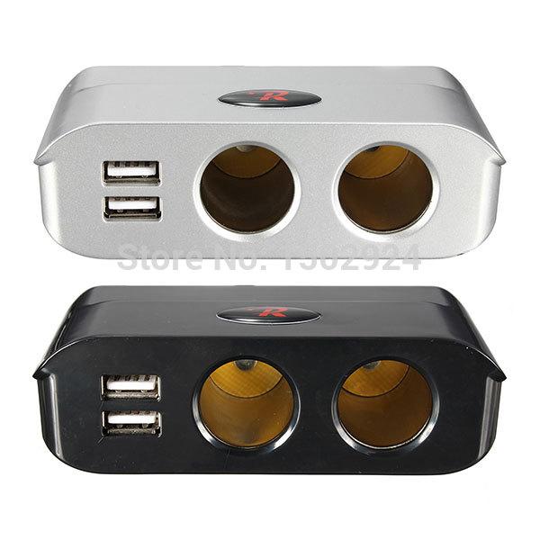 Высокое качество 180 Вт 12 В / 24 В серебро черный 2 разъём(ов) прикуривателя разветвитель + двойной USB порт автомобильный адаптер бесплатная доставка