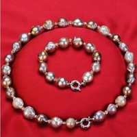 free shipping natural baroque nucleated pearl necklace bracelet set Q27#