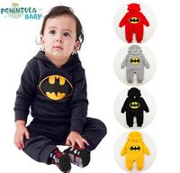 SR022 Free shipping 2014 new batman top quality baby rompers boy newborn baby clothes breaking warm winter children hoodies