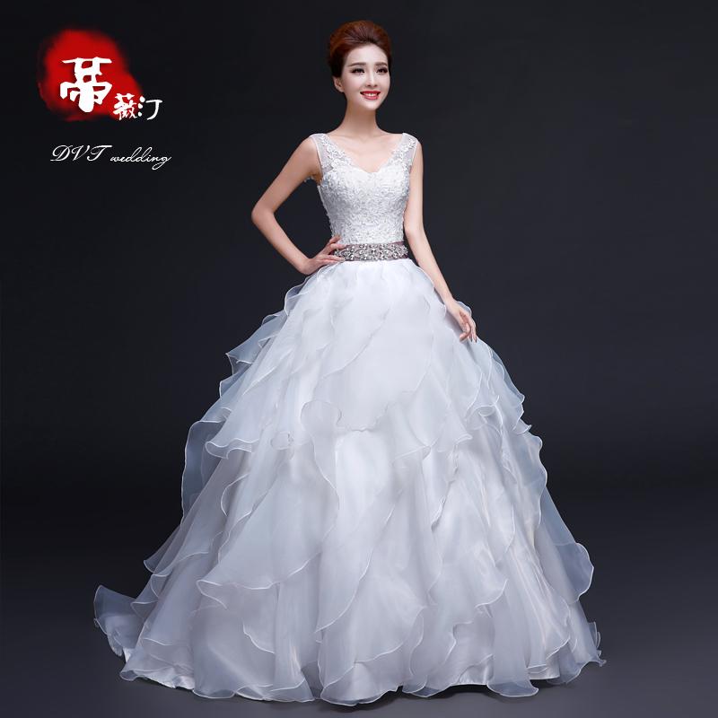 Dvt 2014 novo vestido de noiva inverno moda palácio tailing bra diamante noiva fora do fio S109(China (Mainland))