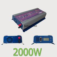 Grid Tie Solar Inverter 2000W,45-90V DC On Grid Solar Inverter with LCD,120/230V AC output,MPPT fucntion