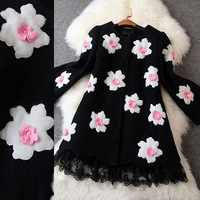 2014 Fashion Winter Coat New Women's Clothing Woolen Embroidered Wool  Overcoat Woolen Outerwear  Plus Size