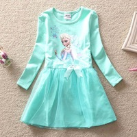 2015 baby Girl Children Clothing for baby New Princess Dresses Brand Girls Dress Lovely Dress Elsa & Anna Summer Dress BOS.F25-1