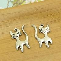 100pcs/lot A3895 antique silver  cats shape  alloy charm pendant fit jewelry making 23X13MM wholesale