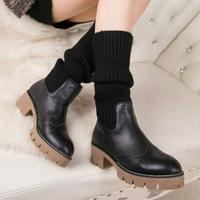 2014 European New Designer  Winter Sweater Boots Black/gray/beige Knee High Sock Boots Med Heel Fur Lined Fashion Women Boots