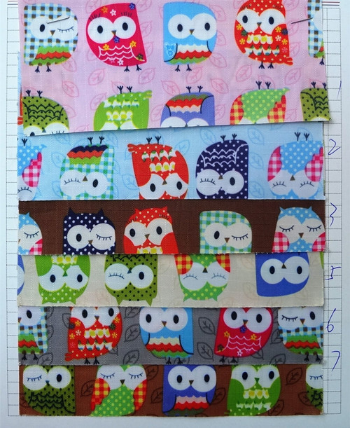 Free ship 1 Yard 100x90cm Owl Printed Waterproof PVC Oxford Fabric for sewing Tablecloth Purse Bags DIY patchwork fabric 6 color(China (Mainland))