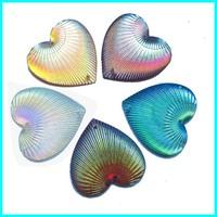 Heart AB Rhinestone With 2 Hole Stone Gemstone Cabochon 25*18mm 100pcs/lot Accept Mix Color Rhinestone Clothing