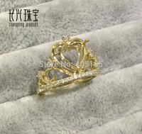 Heart 8.00x8.00mm Cut 14K Yellow Gold Natural 0.35ct Pave Set Diamonds Semi Mount Ring