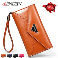 New Arrival Vintage Oil Wax Cowhide Envelope Clutch Wallets Female Genuine Leather Money Purse Women Large Capacity Credit Cards