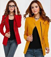 2014 New autumn women casual Korean zipper slim jackets women suit office blazer winter jacket women Black,Yellow ,Red Wine