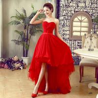 New Arrival Fashion Party Elegant Formal Red Dresses Bridal Clothes Robe de Soiree Short Evening Dress