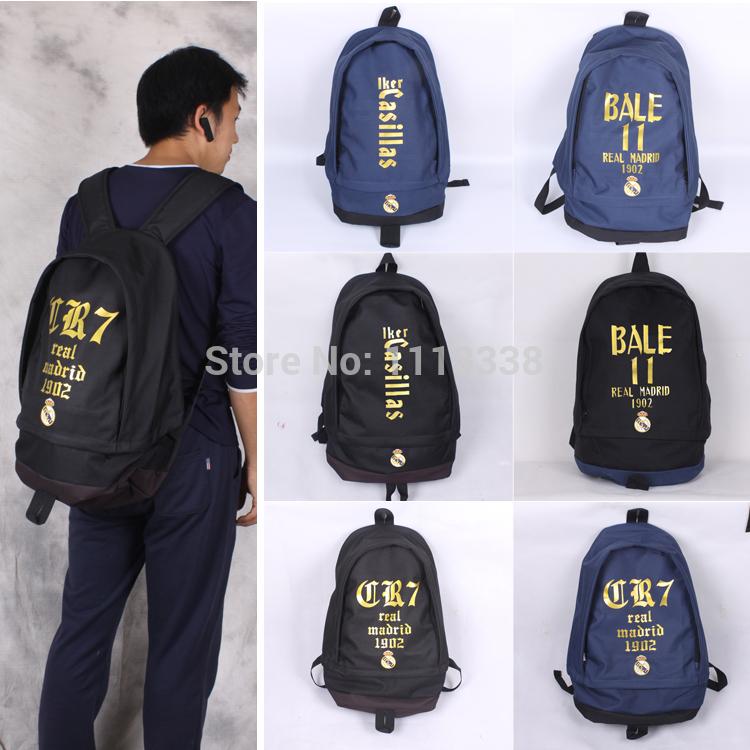 Real Madrid Football Star C.Ronaldo Casillas Bell James Shoulder Bag Computer Bag Backpack Schoolbag 48*38*15cm(China (Mainland))