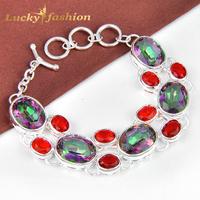 new 2014 fashion pulseiras femininas silver plated mystice rainbow topaz bracelets for women  loom rubber bands