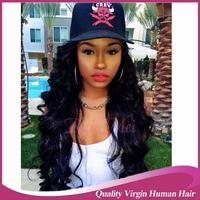Top Grade 7A Peruvian Glueless Full lace Human Hair Wigs Peruvian Virgin Hair Body Wave Lace Front Wig for Black Women