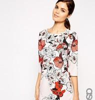 2015 new spring short-sleeved dress Slim Print Dress