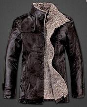 2014 New Autumn Winter Fashion Causal Men Leather Jacket Stand Collar Thickening Warm Wool Windbreak Waterproof Fur Coat Trench(China (Mainland))