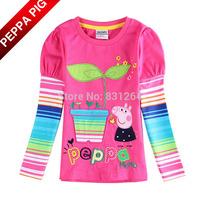 Free Shipping Nova Kids Girls Peppa Pig Long Sleeve T shirts Fashion Baby Girl Fuchsia 100% Cotton Tops Girl