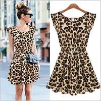 2015 summer new nightclub sexy leopard Leopard Dress Ladies Short Sleeve Dress
