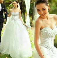2014 New Ball Gown Satin & Tulle Crystal Wedding Dress vestido de noiva Plus Size Wedding Dresses Hot Sale