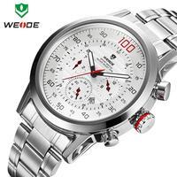 WEIDE brand watch mens military Japan quartz watches full steel watch 30m water resistant diving clock wristwatch