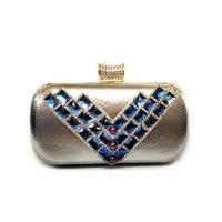 Hot Rhinestone Clutch Handbags handbags new premium women's shoulder bag gold diamond-studded handbag PU Dinner Free Shipping