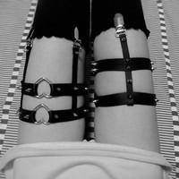 double heart 2 line punk harajuku 2014 sexy garter belt leather harmes belt for stockings costume legging ring garters
