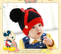 MZ089 2014 new autumn winter South Korean children's hat with knitting wool hat baby hat bowknot baby hat retail