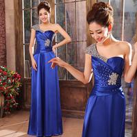 2014 Formal Dress Long Slim Evening Dress Banquet One Shoulder Gold Prom Dress Maid of Honor Dress Royal Blue Sequined Dress