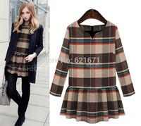2014 Autumn/Winter New Women Vintage Elegant Fashion Plaids Print Long Sleeve Warm Woolen Dress Plus Size XL/2XL/3XL/4XL/5XL