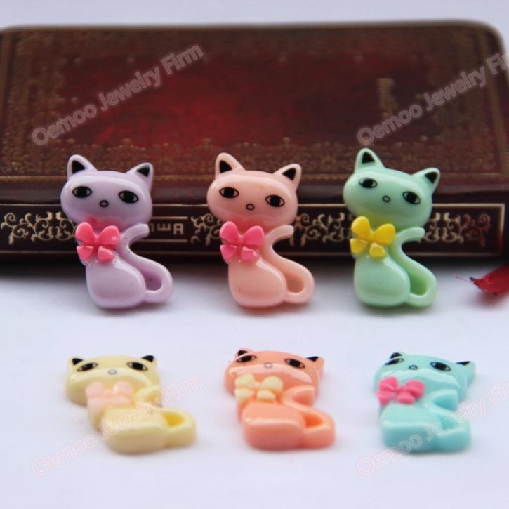 kawaii Resin Cat ribbon Mix colors 50PCS 20*32mm cute Flatback Resin Cabochon for phone decorations Hair Bow Center DIY 275(China (Mainland))