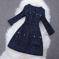 Fashion high quality 2014 women's o-neck check pocket zipper woolen outerwear