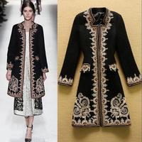 Fashion vintage national 2014 trend medium-long chaplet wool coat outerwear plus size female