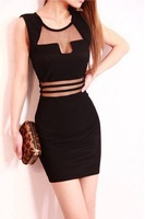 European Brand New Back Gauze Patchwork Women Clothing O-Neck Sexy And Culd Wrap Hip Dresses