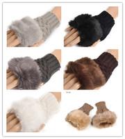 fashion Cute Faux Rabbit Fur Hand Winter Warmer Knitted Fingerless Gloves Mitten 10 colors