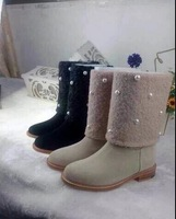 Free shipping lady fashion boots flats boots with pearl decoration round toe autumn/ spring fashion boots