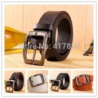 2014 new style 100% Leather belt men's fashion leisure belt brand Cowhide belt metal buckle 4 colors