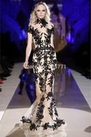 Fashionable Zuhair Murad Black Lace Mermaid Dress Party Evening Elegant Luxury vestidos de festa High Quality 2014