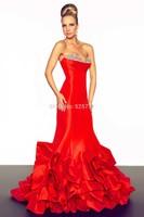 Luxury Crystal Beaded Sweetheart Draped Red Taffeta Mermaid Evening Dresses 2014 New Fashion Bangage Dresses
