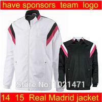 A+++ quality embroidery logo real madrid white soccer jacket 2014 Men soccer jackets Football Sports jacket Soccer Jerseys coat