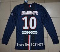 2015 IBRAHIMOVIC DAVID LUIZ CAVANI LUCAS T.SILVA MATUIDI LAVEZZI PASTORE football shirts 14 15 home long sleeve soccer jersey