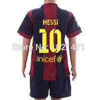 Jersey MESSI Kids 2015 Soccer Jersey NEYMAR JR Kids 14 15 SUAREZ Children Kits Baby Boys Shirt + Short Home Red Youth Away 14/15