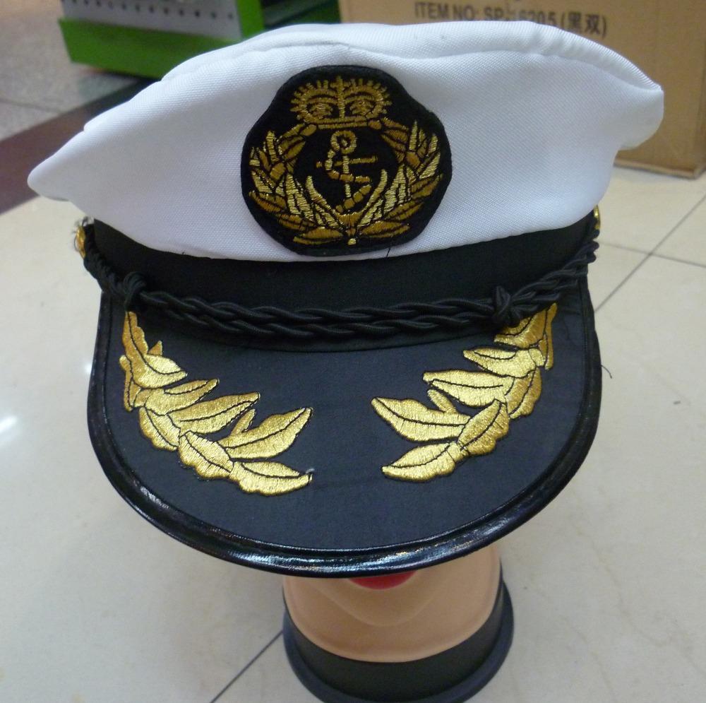 Grátis frete moda lã branca da marinha militar chapéu de pano chapéu capitão marinheiro cap uniforme cap performance de palco cappainter(China (Mainland))