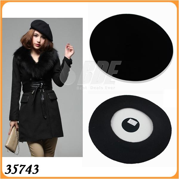 New Fashion Joker Wool Warm Women's Beret Beanie Hat Cap Fashion Accessories Color Red Black 35742(China (Mainland))