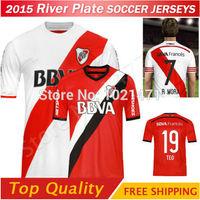 Top New! 14/15 River Plate Soccer jersey Home Away BALANTA CAVENAGHI R MORA shirt 2015 Argentine league River Plate Jerseys